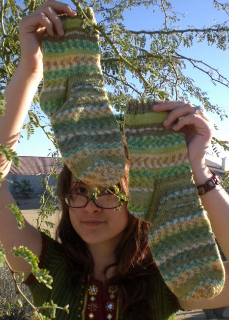 green-trekking-socks